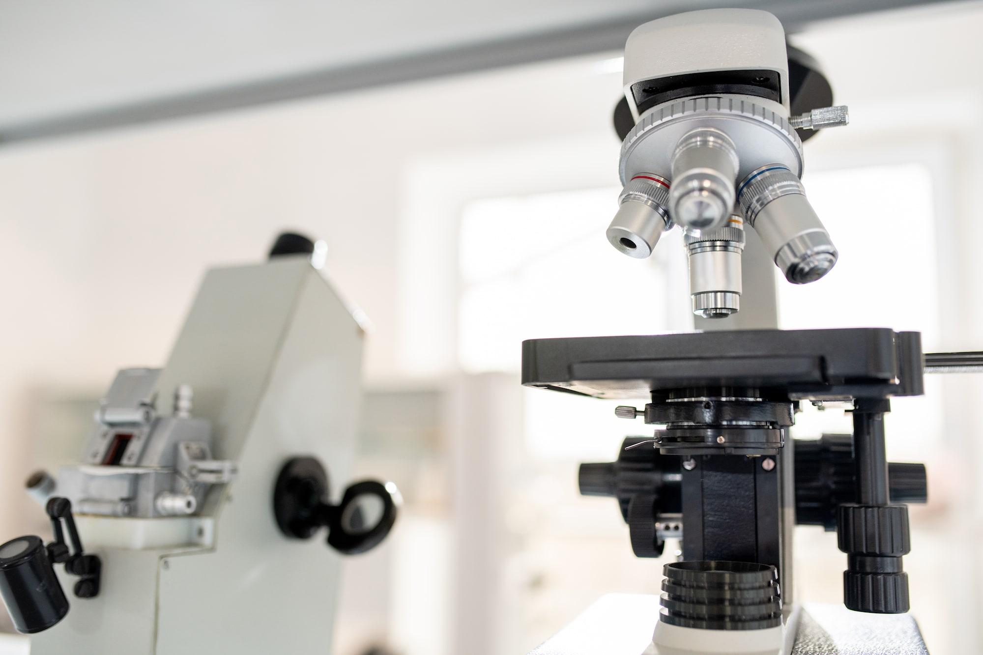 Microscopes in scientific laboratory