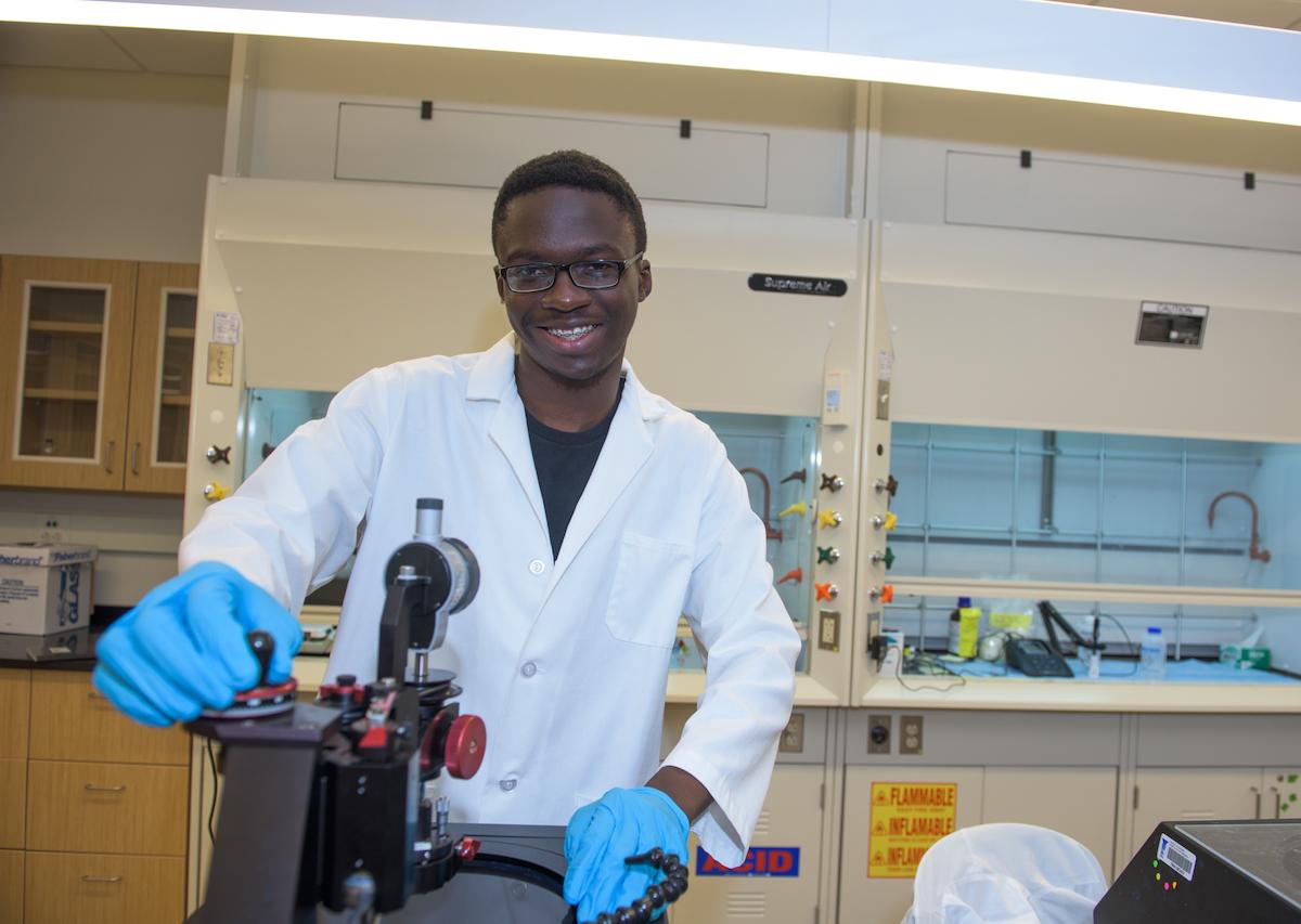 Student in lab coat